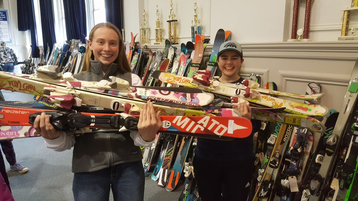 Cora & Claudia working the ski swap