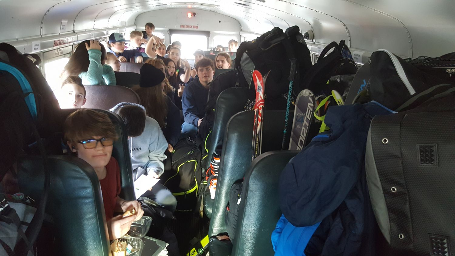 Packed bus ride with Jefferson Ski Team